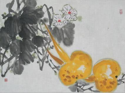 中国画基础知识,中国画技法之写意丝瓜,葫芦画法教程图文详解