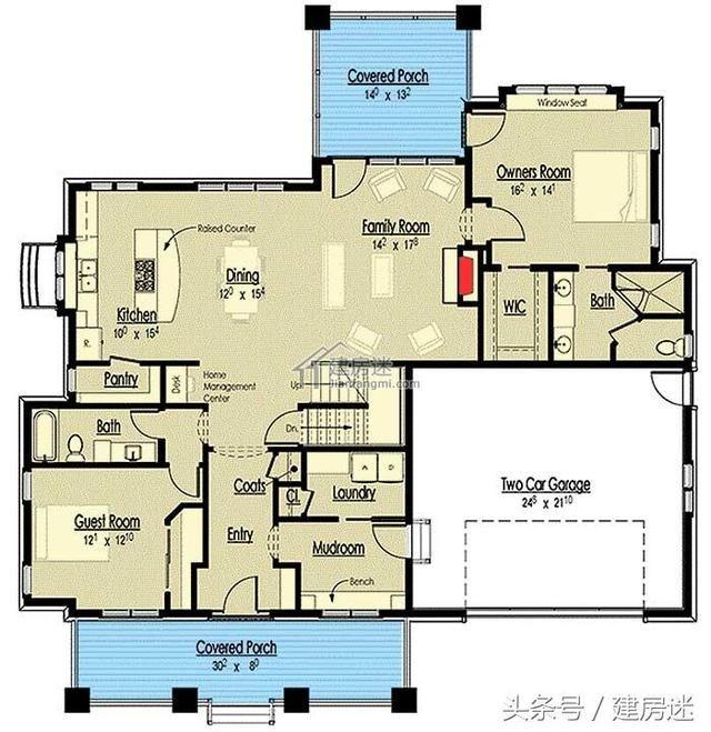 平面图 后院-新农村自建房美式风格13米x13米两层斜顶带车库别墅设计
