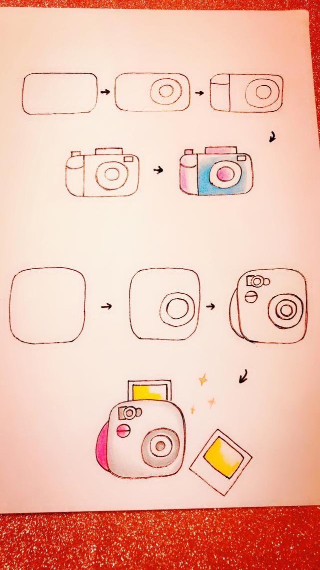 手账简笔画素材-五一小假期,教你画相机和朋友们一起拍照留念吧