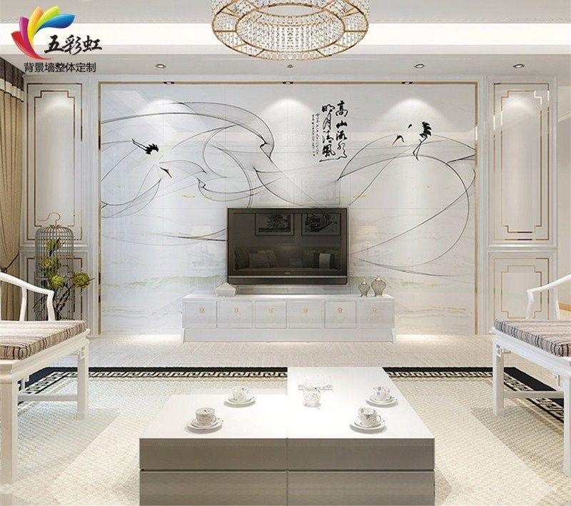 5,新中式风格微晶石背景墙搭配石材护墙板造型效果图图片