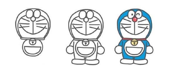 微笑的哆啦A梦 我们接下来画一款小时候的哆啦A梦,看看是不是和小宝贝们一样萌萌哒,画法和上面基本一致,只是要注意几点,小时候的哆啦A梦,身体比较小,所以显得眼睛更大。