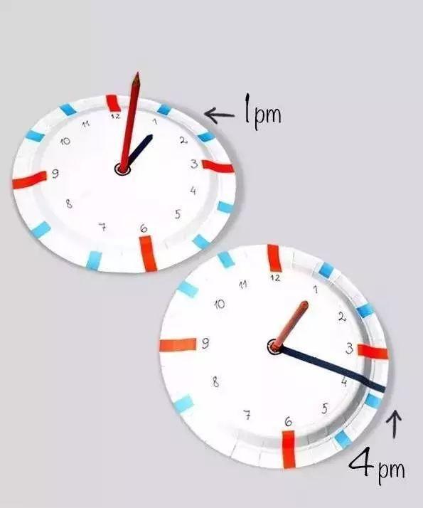 时钟手工幼儿园玩教具手工时钟,培养孩子的时间观念