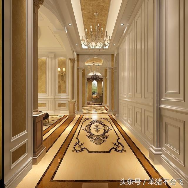 比如在拼花地砖的使用上,灯具的复杂程度,颜色的艳丽程度,鎏金线条的图片
