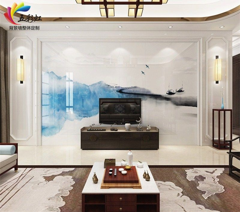 2,新中式风格微晶石背景墙搭配石材护墙板造型效果图图片