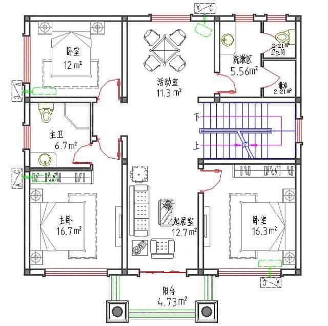 新款1110造价25万带神位主卧配套顶层带凉亭三层自建房设计图