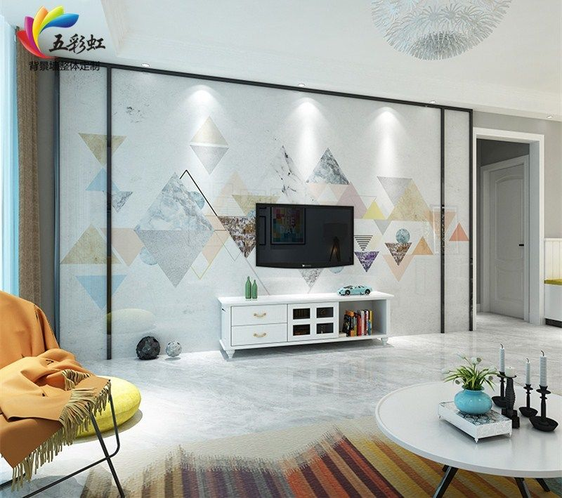 2,简约现代北欧风格电视背景墙装修效果图图片