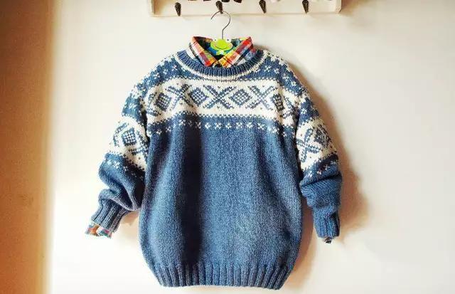 棒针编织男童提花套头毛衣,款式休闲大方