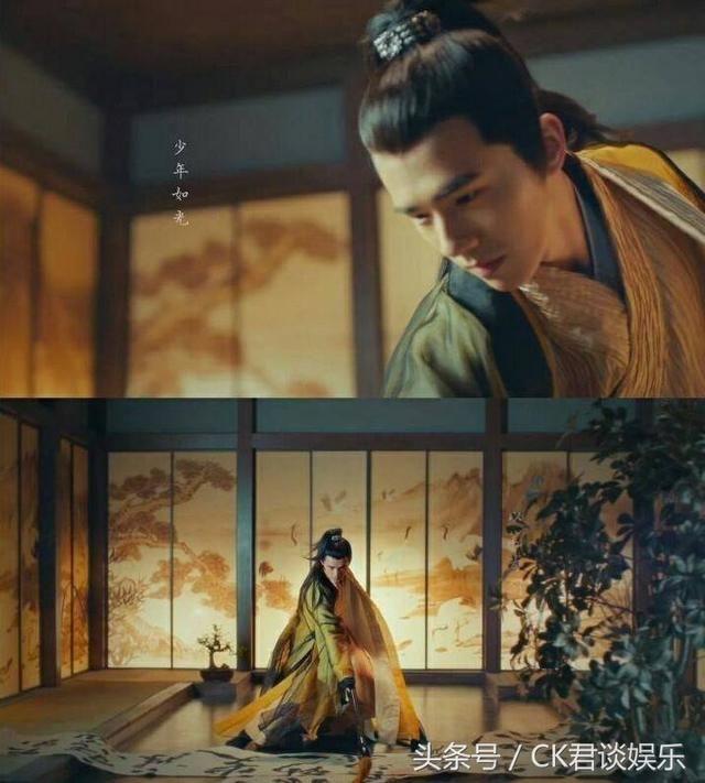 《妖猫传》中,刘昊然饰演白鹤少年白龙,在影片中一个霸气的转身,气势