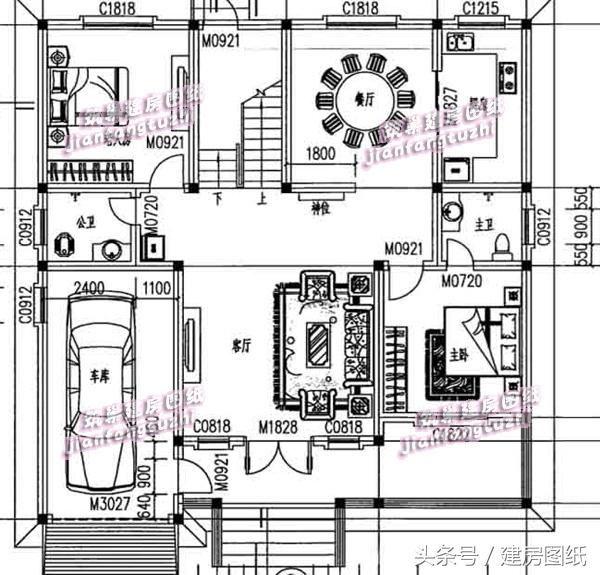 一层半13x13米农村方正别墅设计图,带有神位车库,父母
