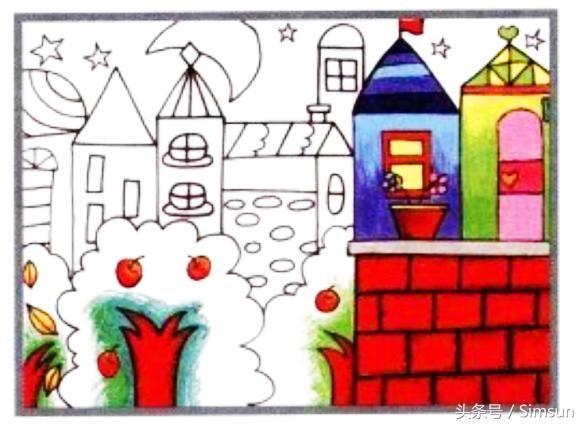 油画棒教程《都市夜景》 绘画步骤: 1,用记号笔画出不同外形的房子,注
