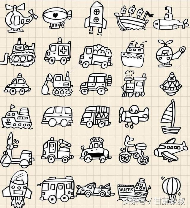 交通工具简笔画(汽车,飞机,轮船,气球等等)