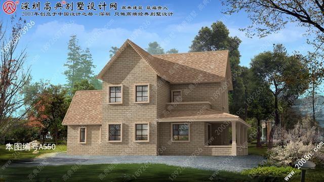 小外观三层半美式乡村父母别墅很特别买别墅了色彩梦见图片