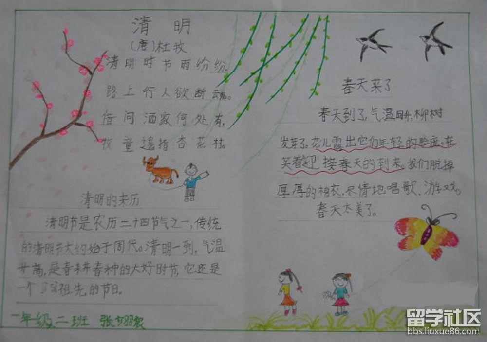 一年级小学生手抄报清明节