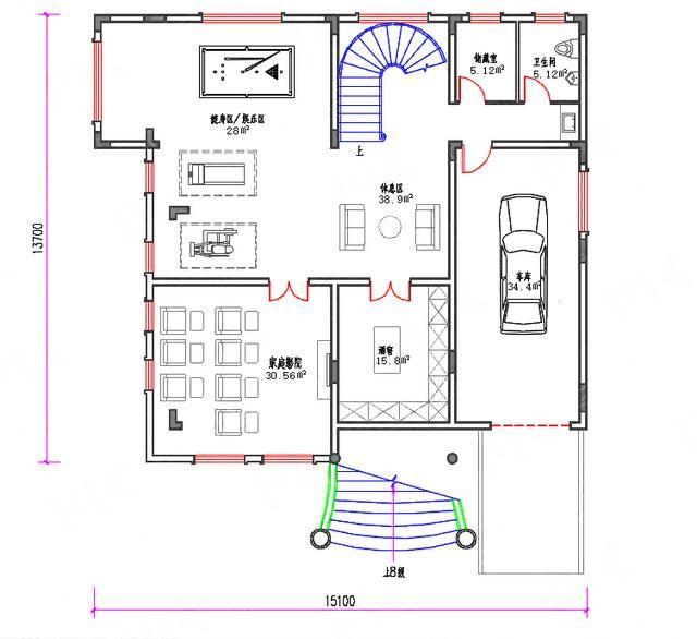 主体造价:70万 本套三层农村别墅户型图功能设计 地下室:车库,酒窖,家