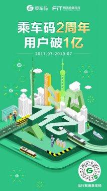 腾讯乘车码最新数据:2周年用户破亿