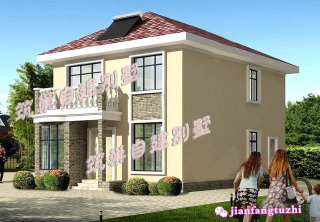 15万90平方米8x12米方正大方二层农村别墅房屋设计图外观图