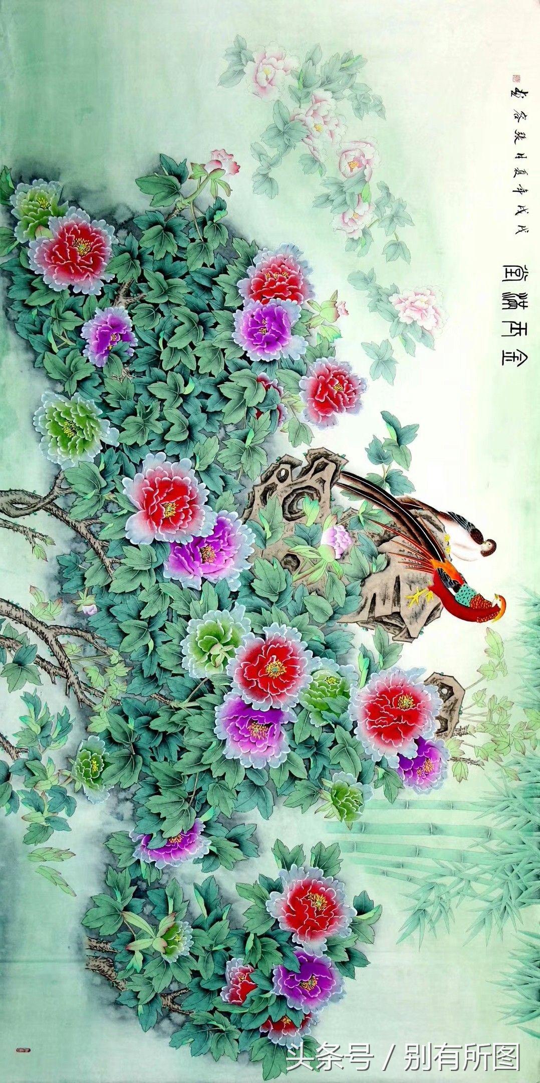 美协张容国画精品大八尺工笔 牡丹 富贵荣华 八幅图作品欣赏