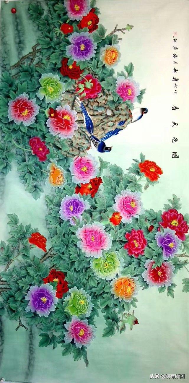 美协张容国画精品大八尺工笔牡丹 富贵荣华 美图欣赏