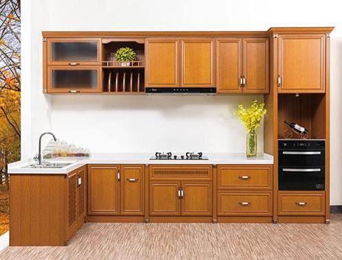5款红色原木色全铝橱柜装修效果图,可合适巨细户型厨房运用!