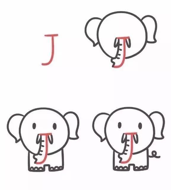 大象头像简笔画图片