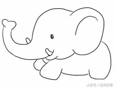 一分钟学会画可爱大象!简笔画步骤,快收藏