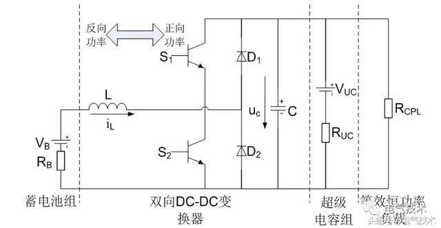 正文  3 超级电容储能系统的等效电路(略) 图2 混合储能系统等效电路