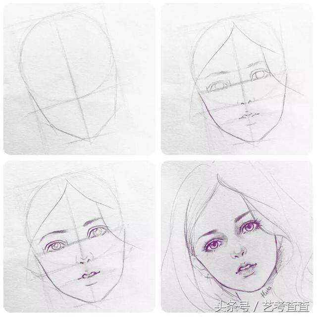 观察绘画对象 标出五官的位置 再慢慢的圆加头发,衣领等 对于初学者来