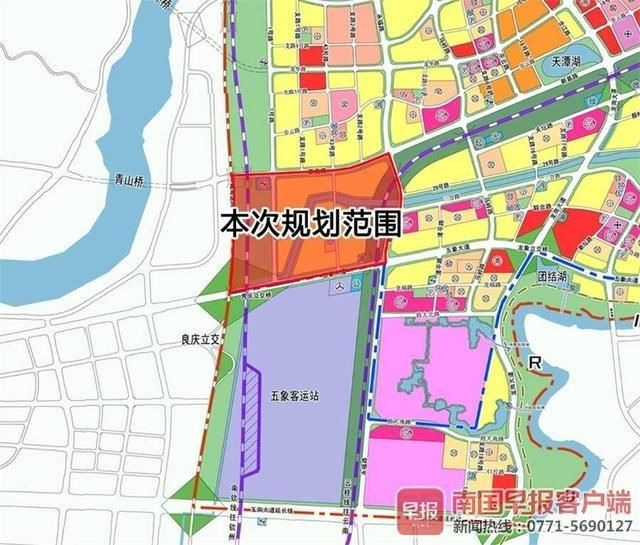 南宁龙岗片区拟打造商住一体高铁综合配套服务组团街区铁路线