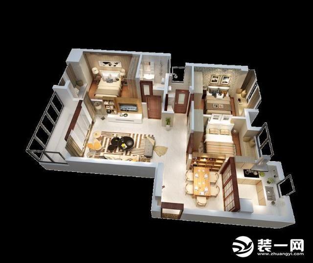 120平米简约风格装修效果图三室两厅装修户型图,从户型图可以看到房屋