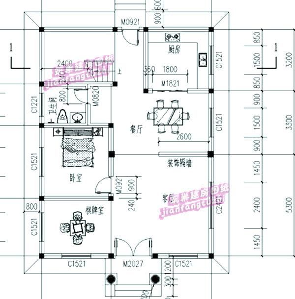 110平米9x12米二层5卧2厅农村自建房设计cad图效果图