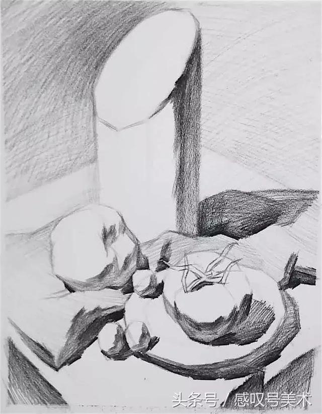 素描静物单体绘画,单个物体绘画步骤分析,调子与结构的关系