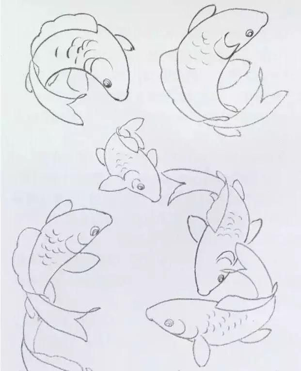 鲤鱼的工笔与写意画法,建议收藏!