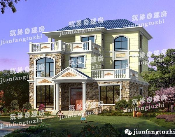 12x11.8三层农村自建房设计图,文化石装饰,多露台错落