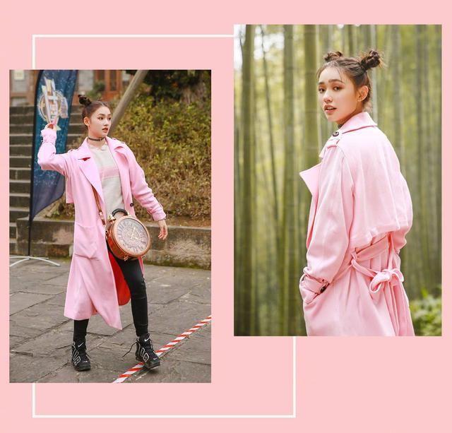 林允的哪吒头发型很适合可爱系的粉色,加上项链和包包的搭配,粉色风衣