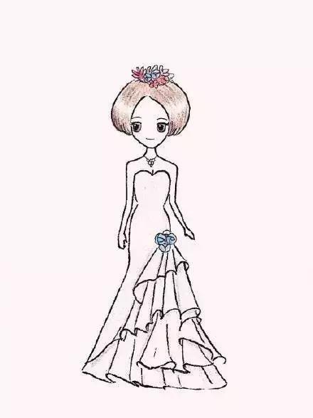 婚纱简笔画步骤图_婚纱怎么画一步一步教你画