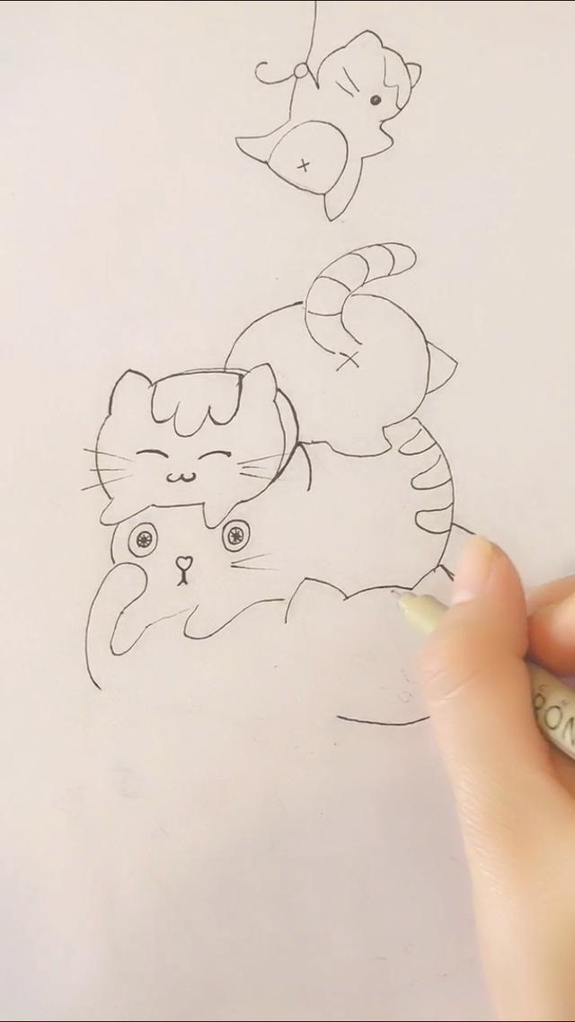 手账简笔画教程-一副挤猫猫萌画的诞生,从一只气球画起!