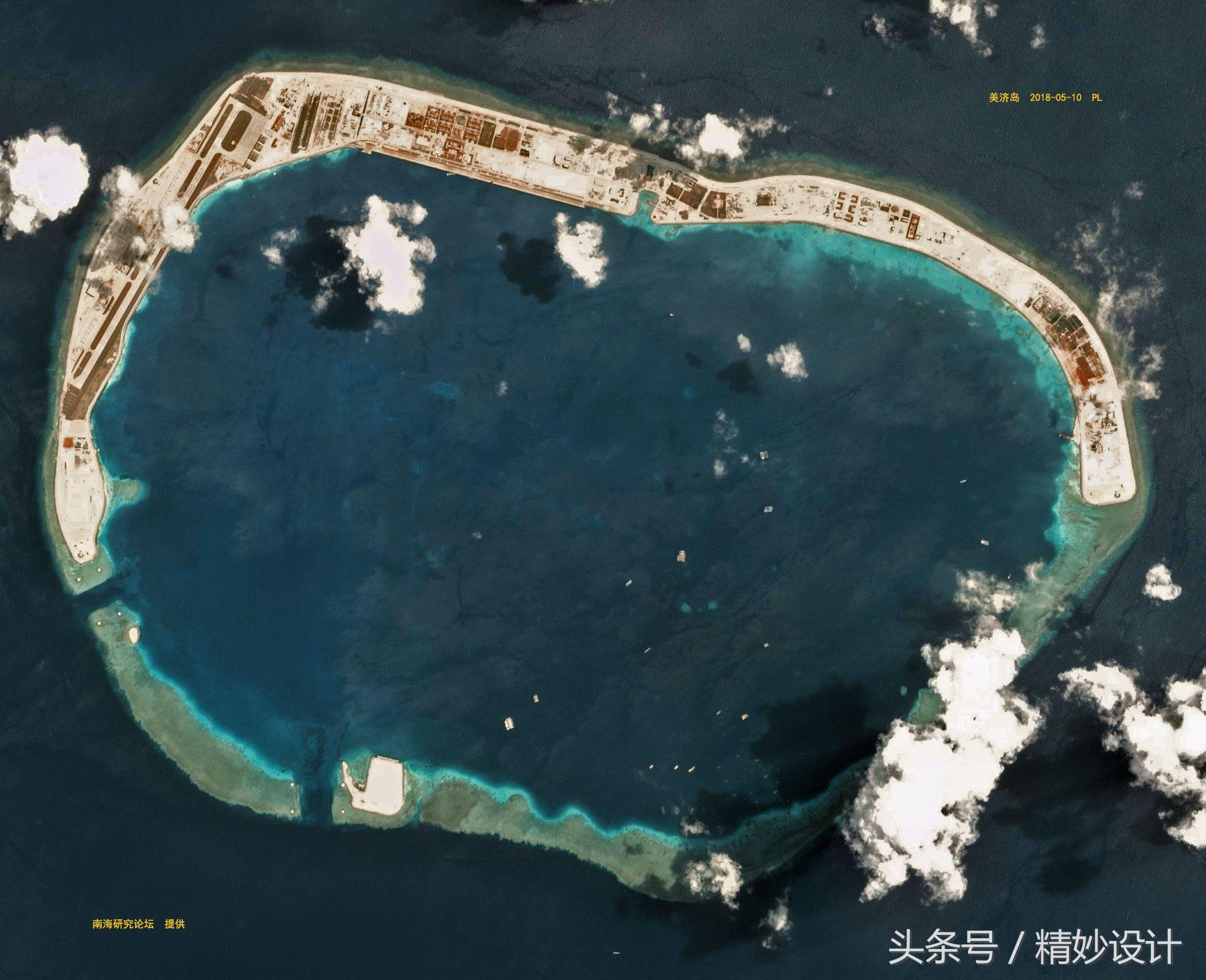 南沙多个岛屿卫星照曝光,七连屿将是南海开发下个重心