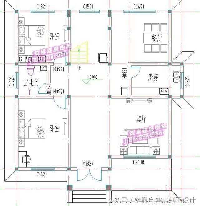 2款二层农村自建房别墅全套设计图,25万13x12米5卧