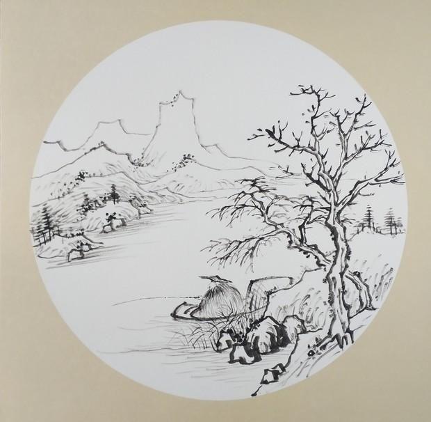 山水画《独钓寒江雪》步骤图,很有意境的国画小品,喜欢的收藏了
