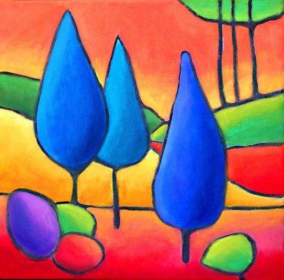 儿童创意美术作品:户外风景与多种小房子绘画图片
