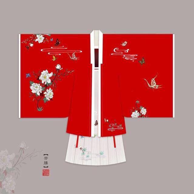 汉服设计图欣赏 长裾连理带,广袖合欢襦